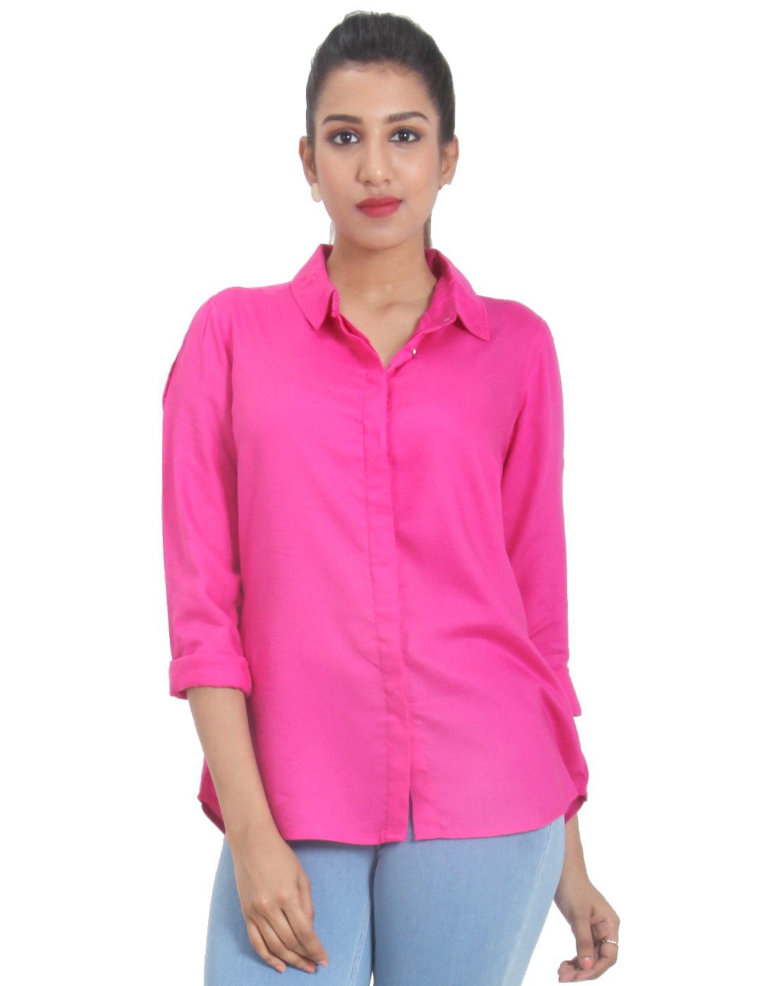 Raspberry Rose Solid Rayon Top