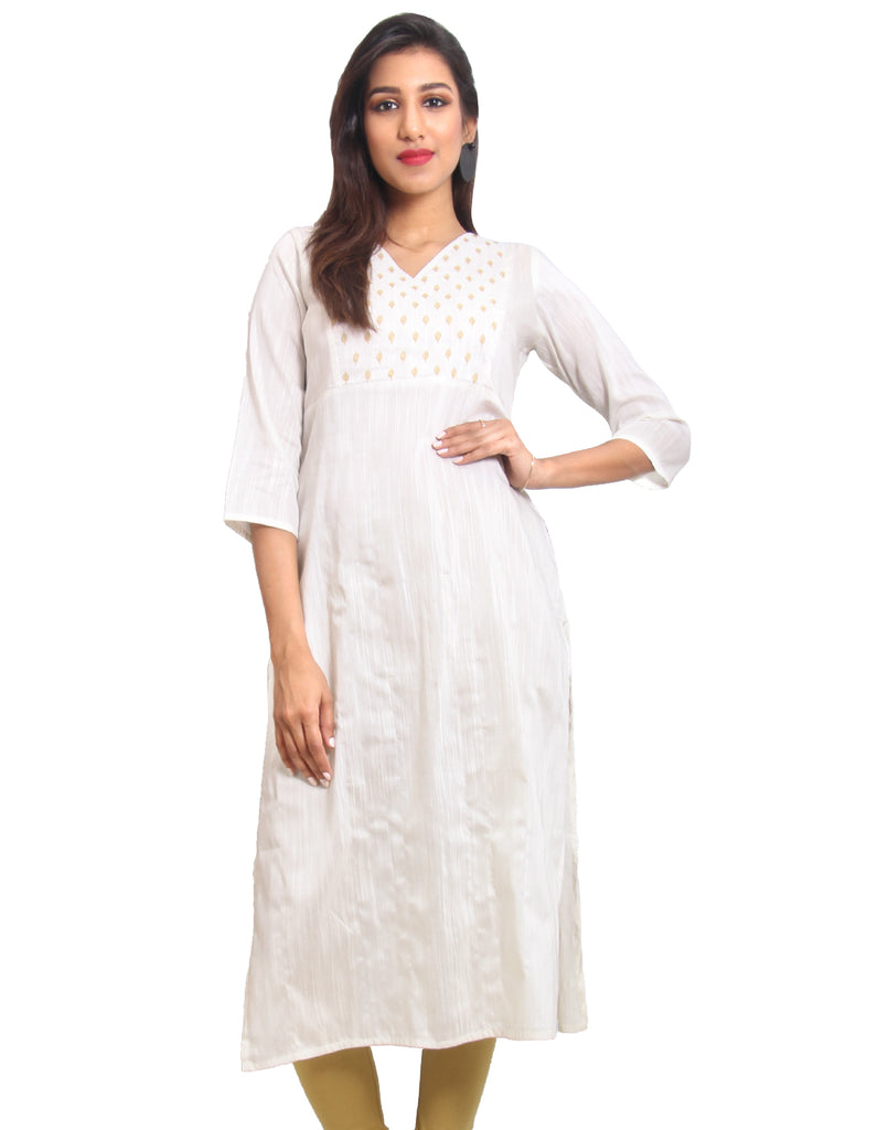 Marshmallow Straight-Cut Raw Silk Kurta