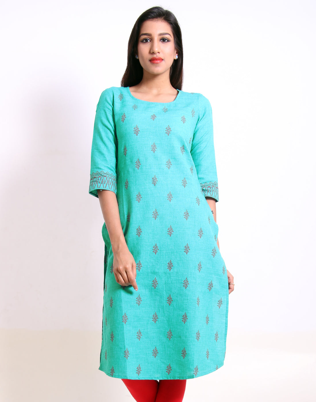 Viridian Green Cold Shoulder Straight-Cut Kurta