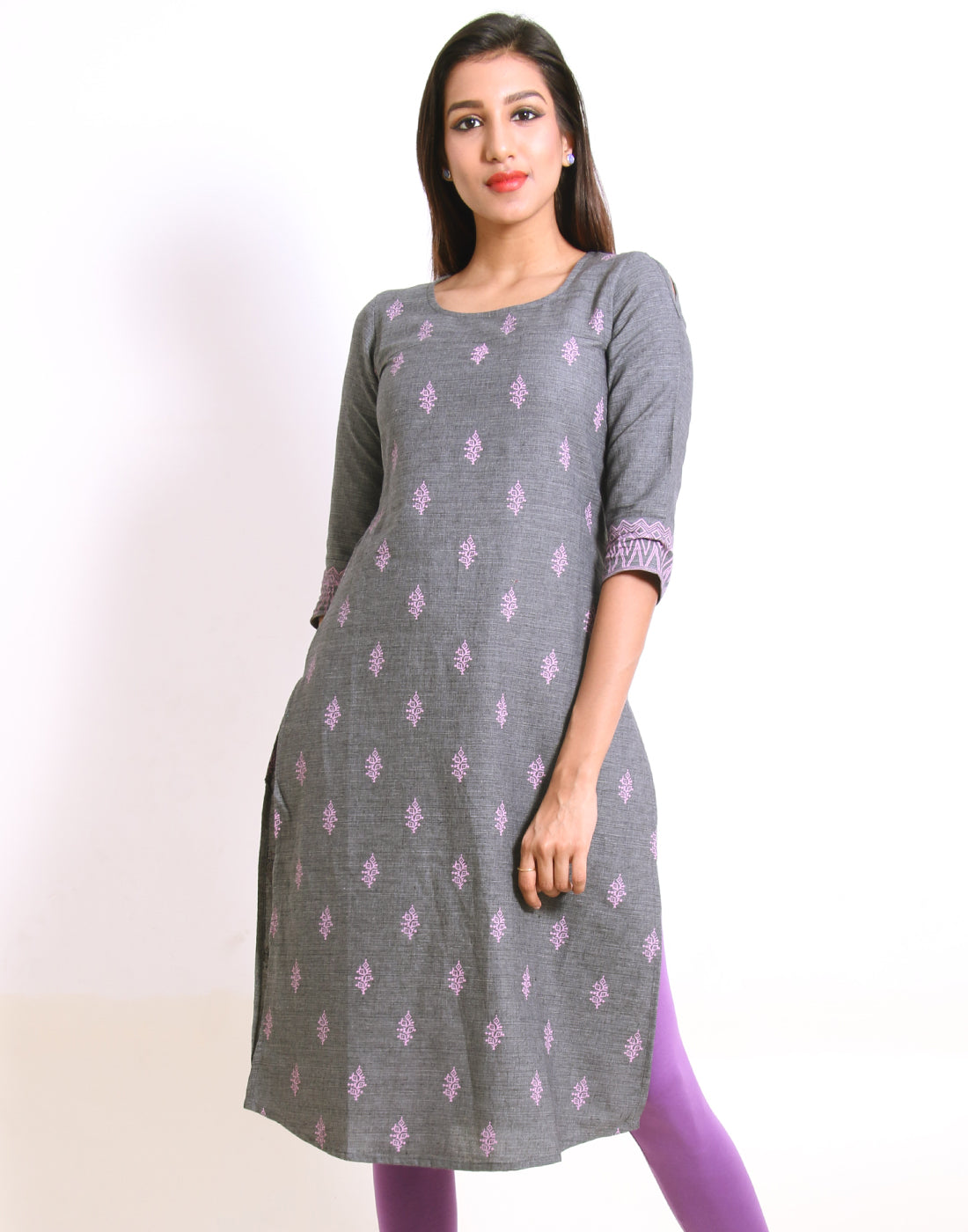 Charcoal Gray Cold Shoulder Straight-Cut Kurta
