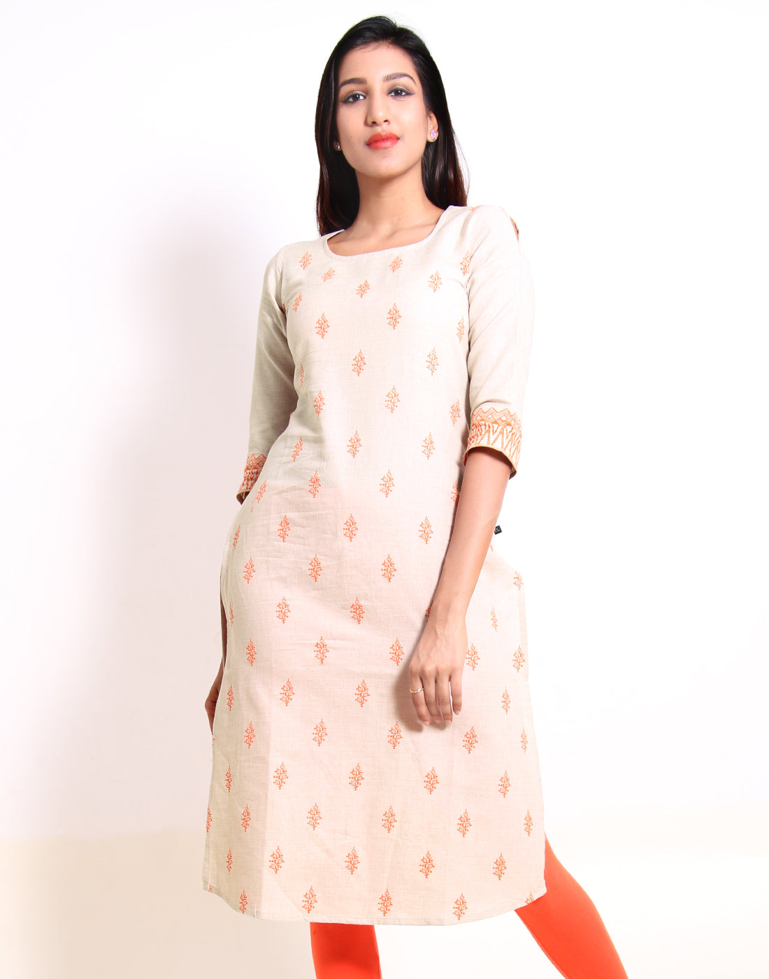 Sandshell Cold Shoulder Straight-Cut Kurta