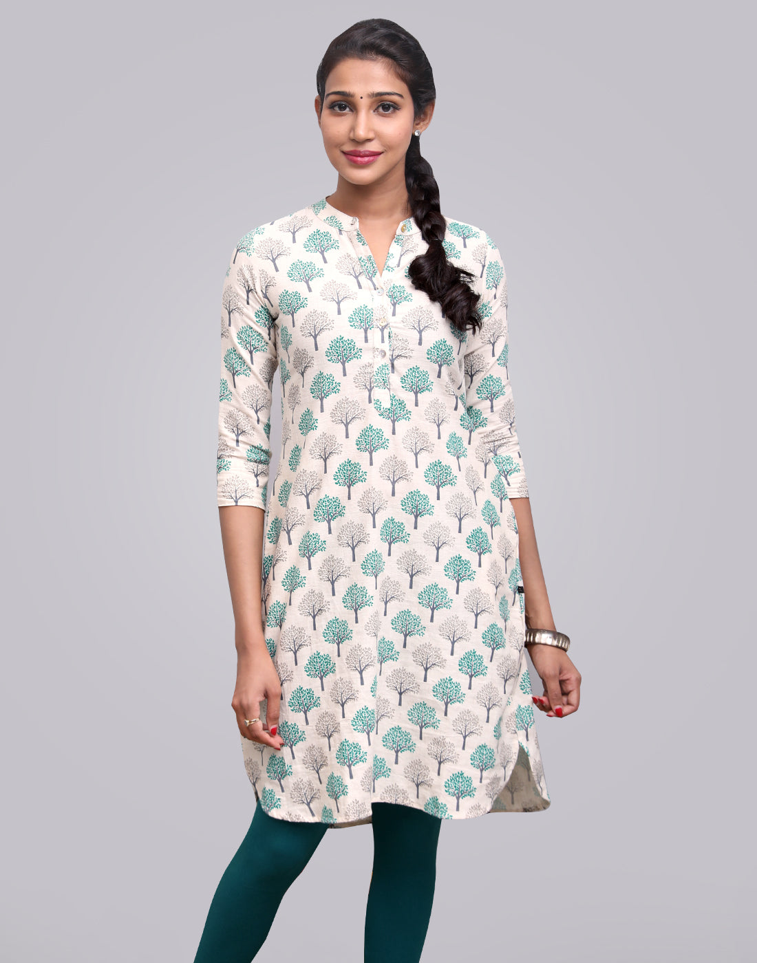 Beige 'N' Teal Cotton Flex Printed Tunic