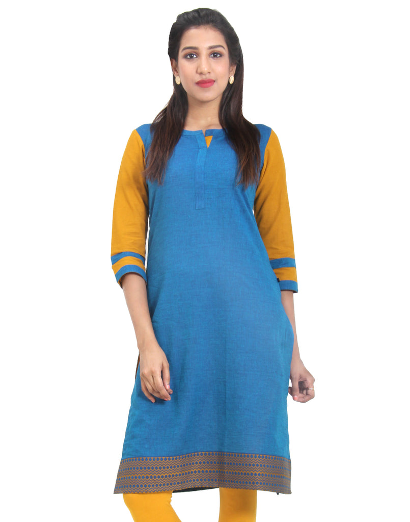 Seaport Cotton Kurta With Contrast Sleeves