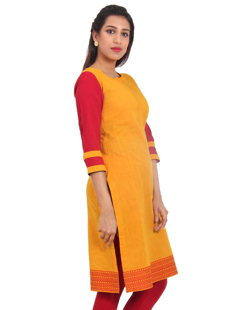 Saffron Cotton Kurta With Contrast Sleeves