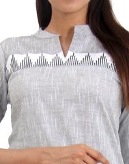 Glacier Gray Straight-Cut Cotton Kurta