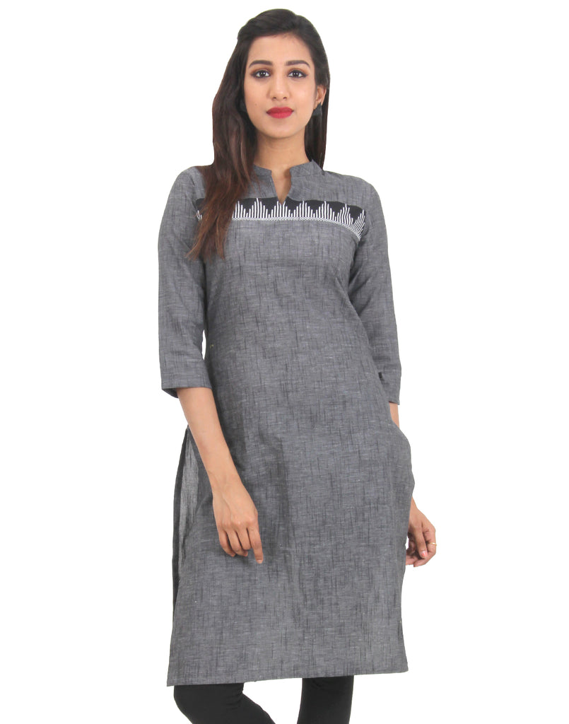 Raven Black Straight-Cut Cotton Kurta