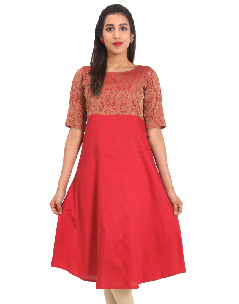 True Red Raw Silk Cold Shouldered Anarkali