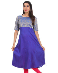 Surf the Web Raw Silk Cold Shouldered Anarkali