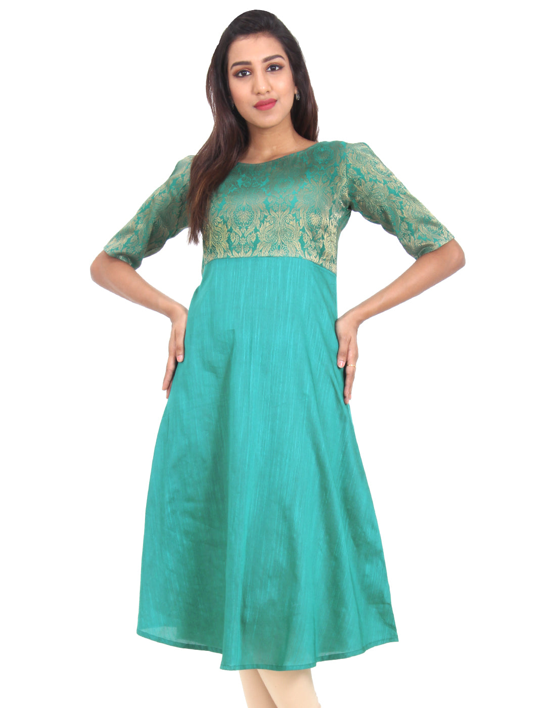 Alpine Green Raw Silk Cold Shouldered Anarkali