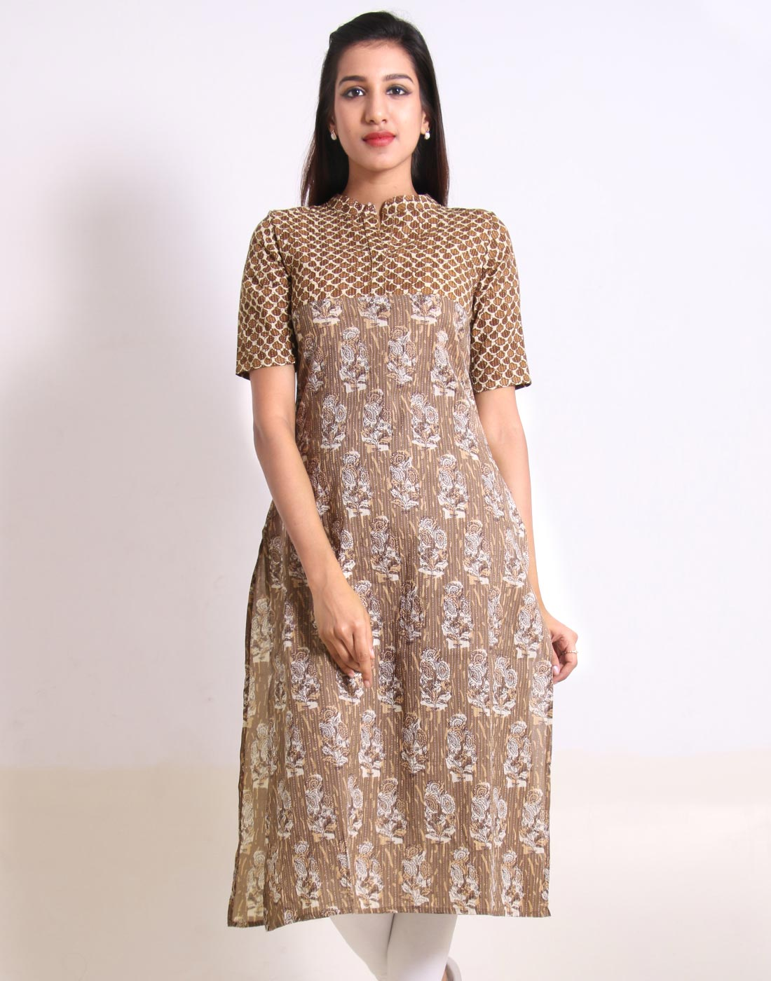 Butter Nut Kantha Work Straight Cut Kurta