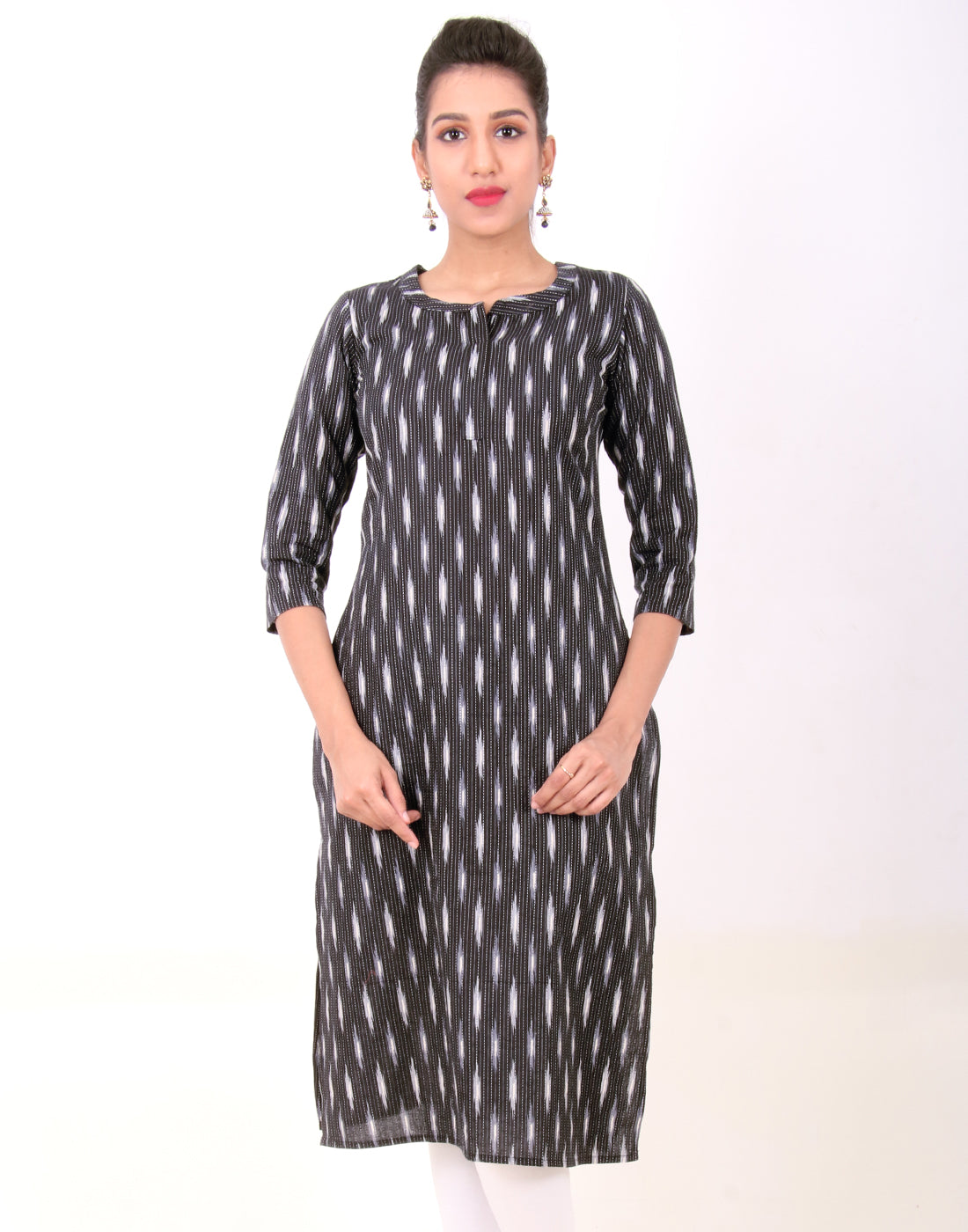 Black and White Kantha Work Straight Cut Kurta