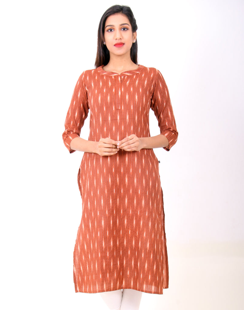 Ginger Bread Kantha Work Straight Cut Kurta