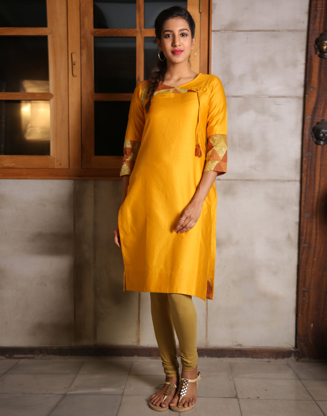 Cadmium Yellow Cotton Satin Straight Cut Kurta