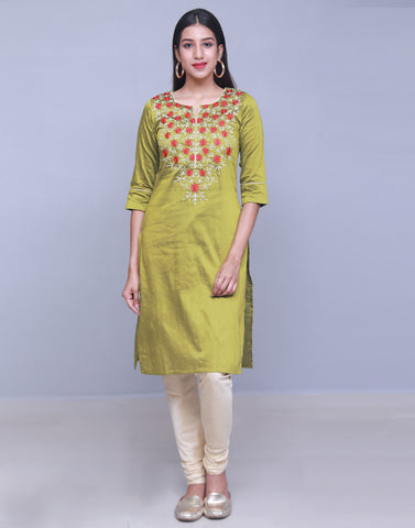 Green Embroidered Straight Cut Kurta