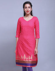 Fuchsia Rose Jacquard Straight Cut Kurta