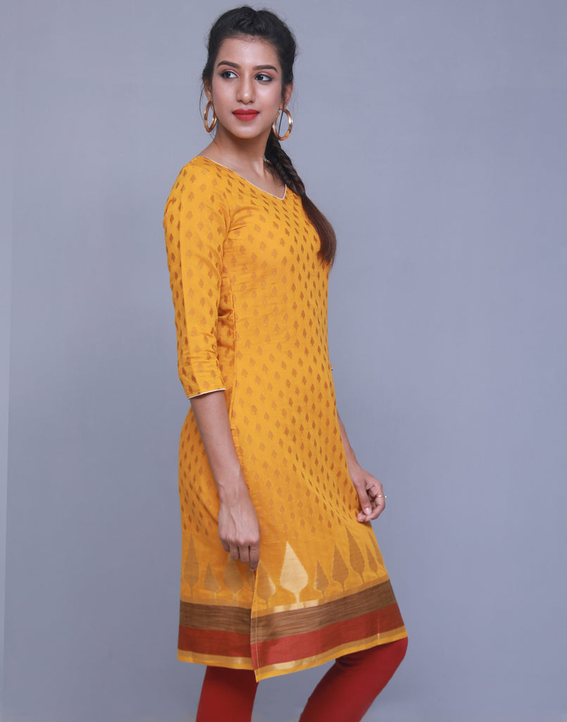 Sunflower Jacquard Straight Cut Kurta