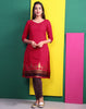 Tango Red Jacquard Straight Cut Kurta