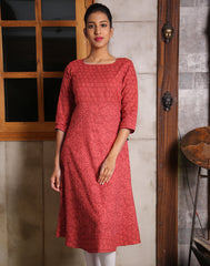 Chinese Red Kantha Work Anarkali Kurta