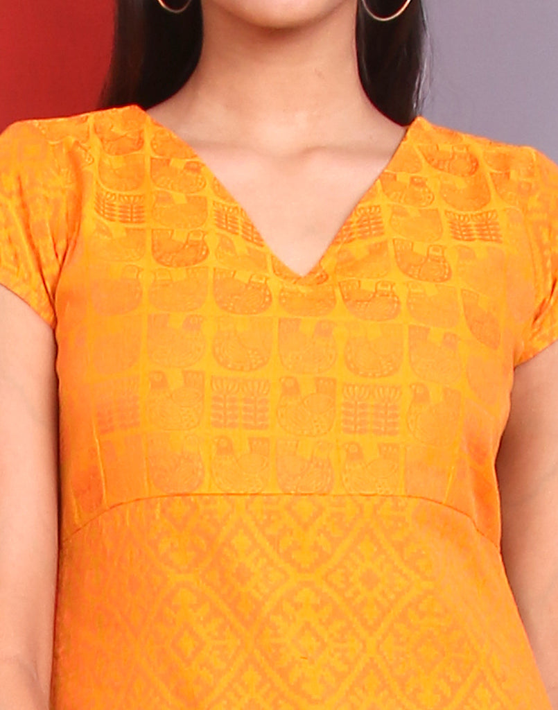 Cadmium Yellow Jacquard Straight Cut Kurta