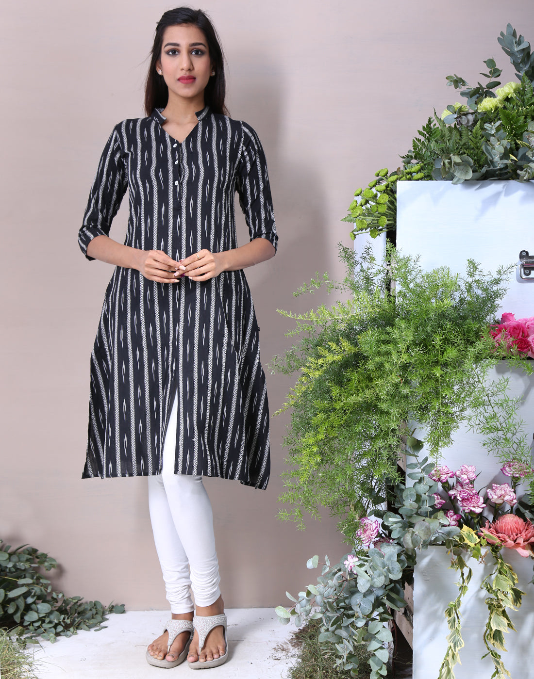 Pirate Black Ikat Kurta With Front Slit