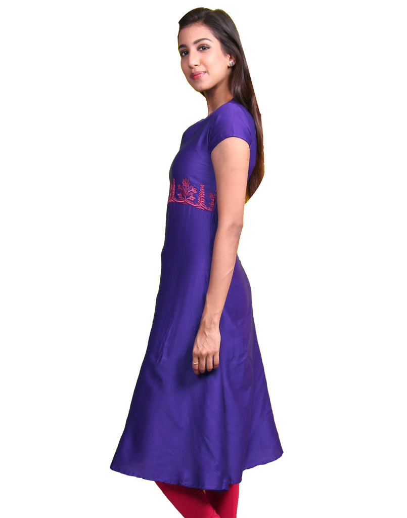 Federal Blue Cotton Satin Anarkali Kurta