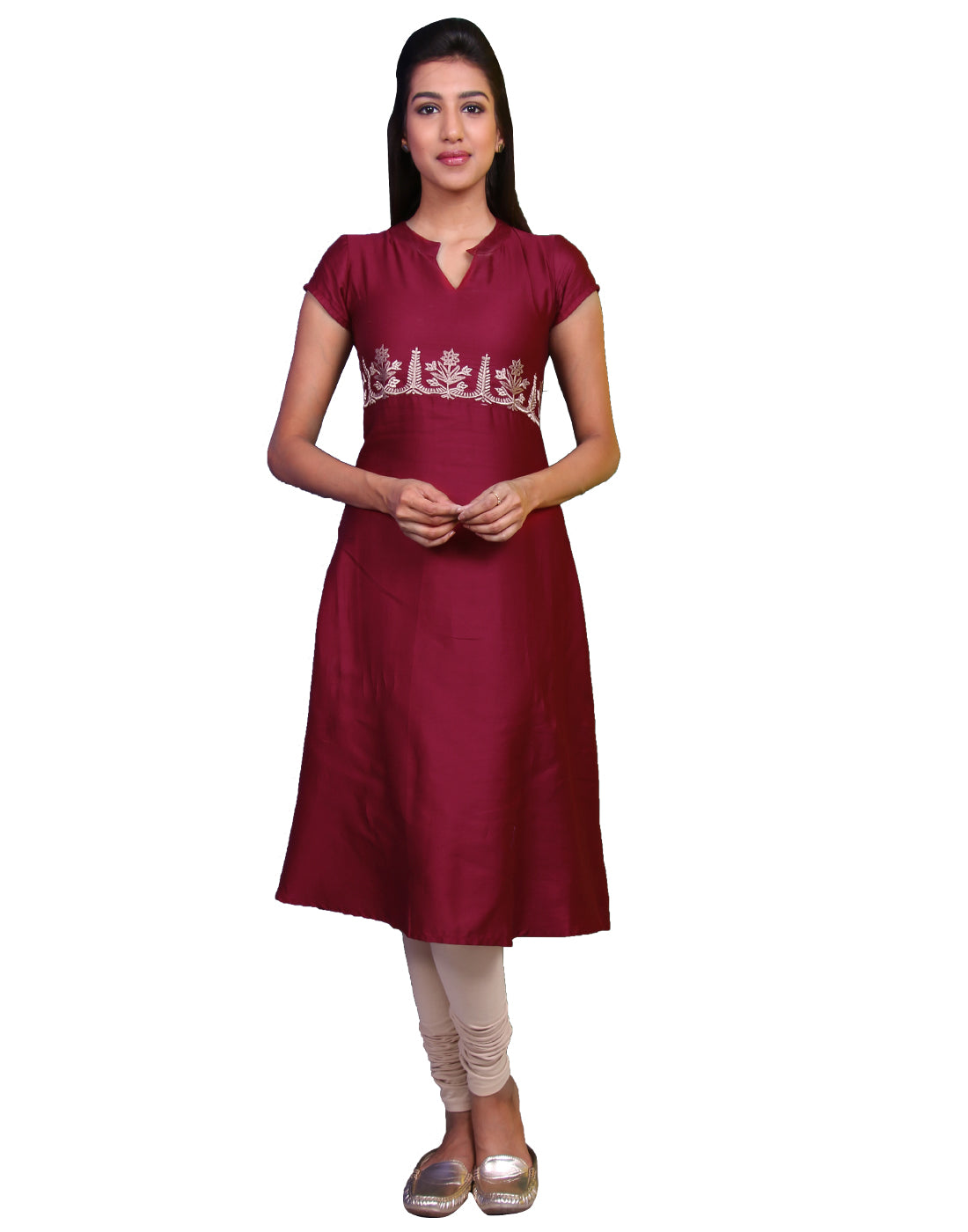 Barn Red Cotton Satin Anarkali Kurta