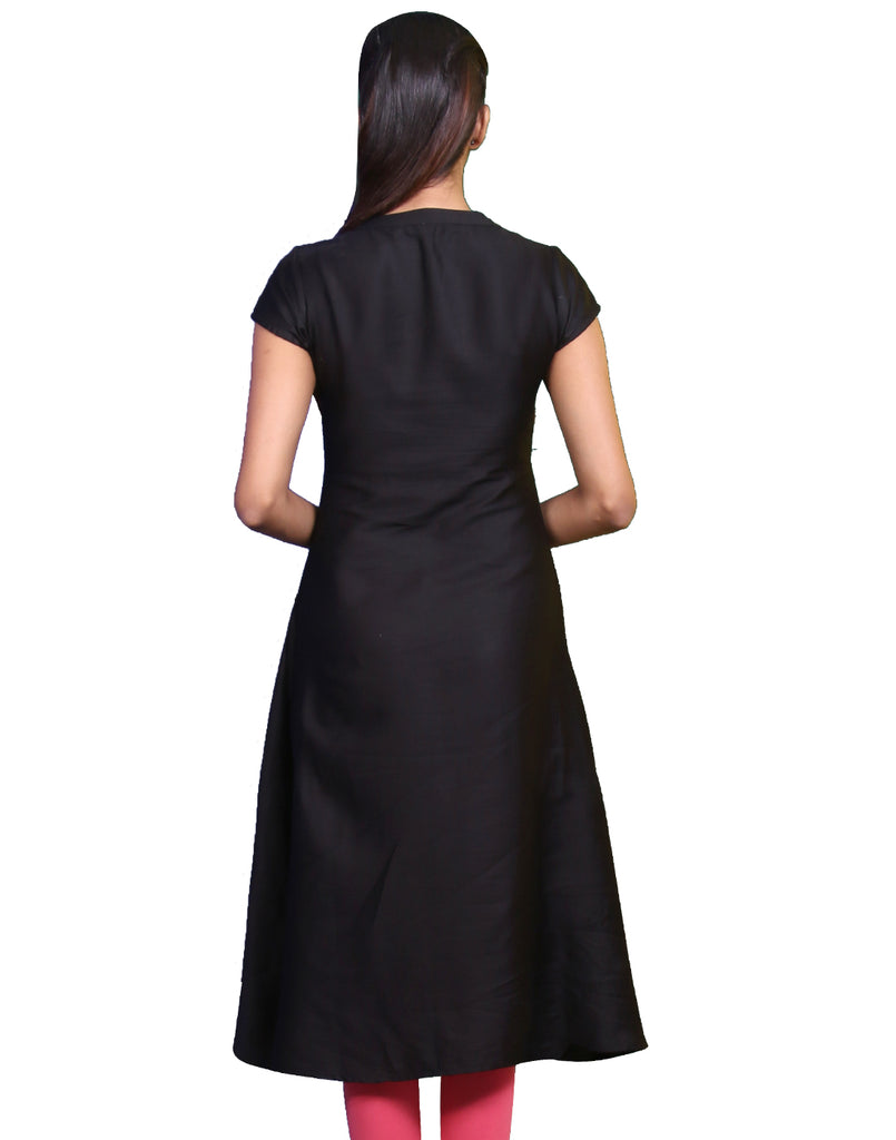 Jet Black Cotton Satin Anarkali Kurta