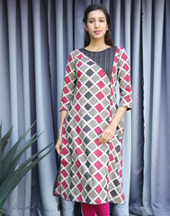 Pink 'N Grey Kantha Work Straight Cut Kurta