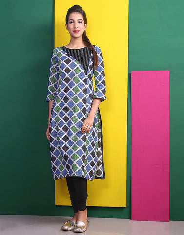 Blue 'N Green Kantha Work Straight Cut Kurta