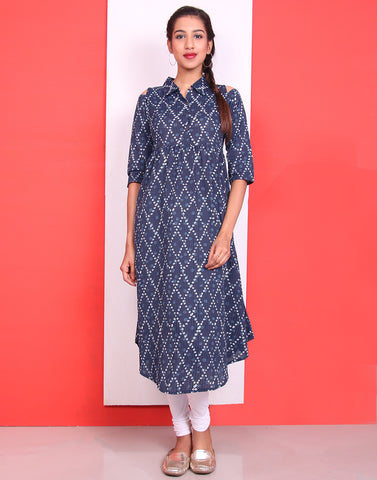 Indigo Cold Shoulder Anarkali Kurta