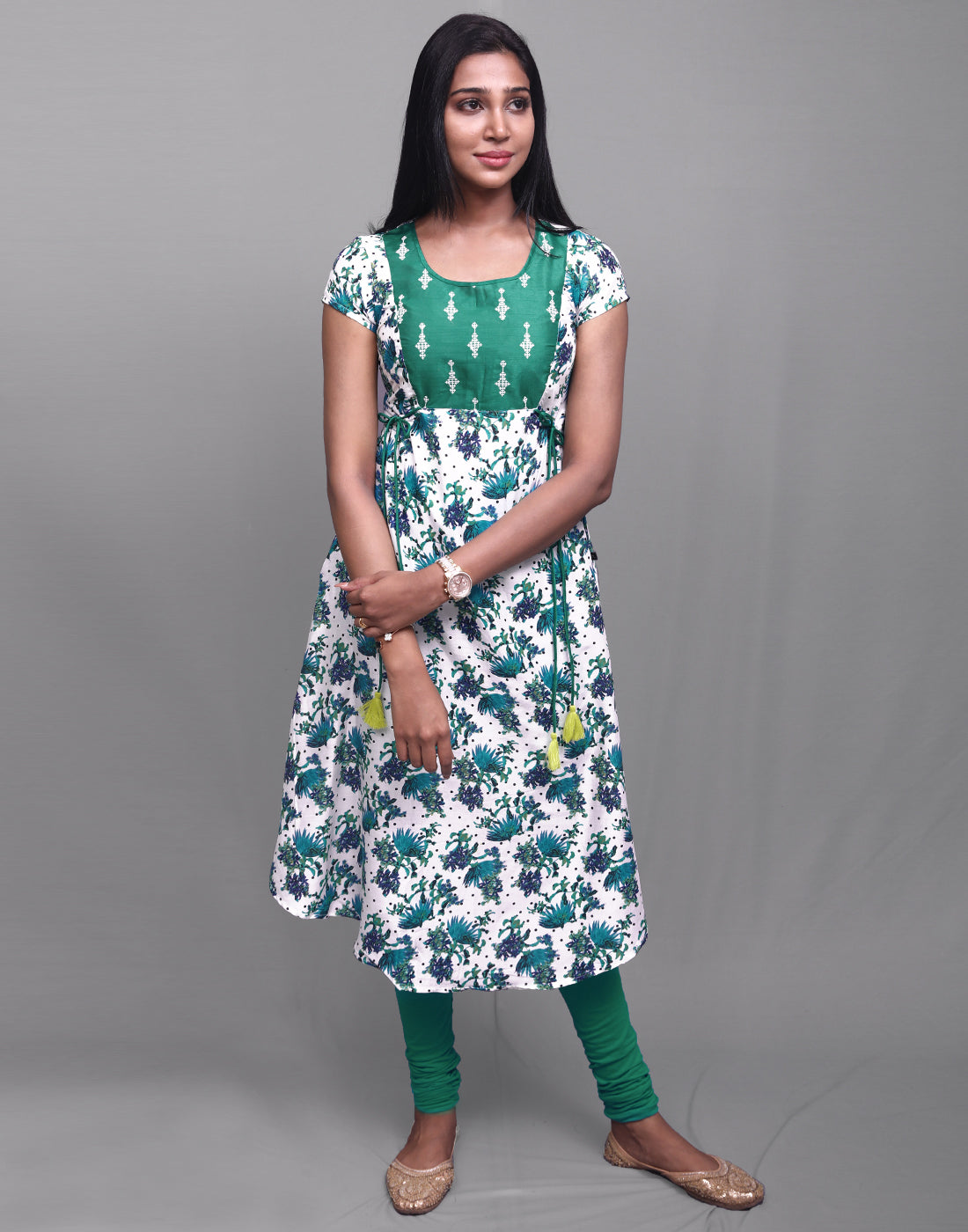 Deep Green 'N' Off White Printed Rayon Anarkali Kurta