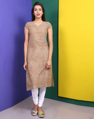 Cream 'N' Bronze Brown Kantha Work Straight Cut Kurta