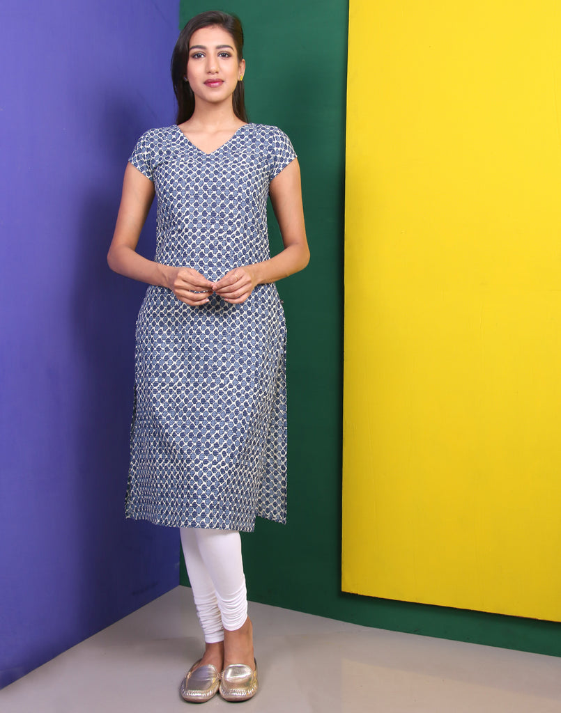 Cream 'N' Twilight Blue Kantha Work Straight Cut Kurta