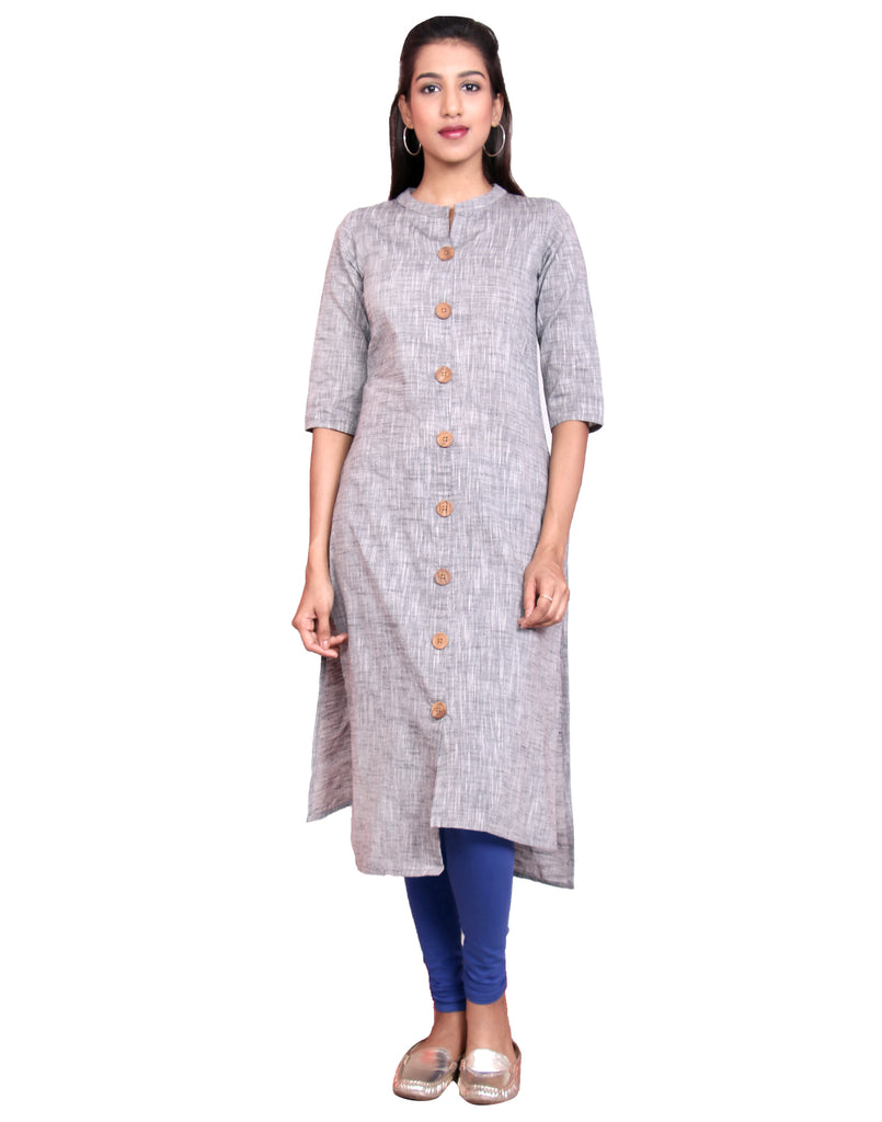 Frost Gray Chambram Slub Hi-Low Straight Cut Kurta