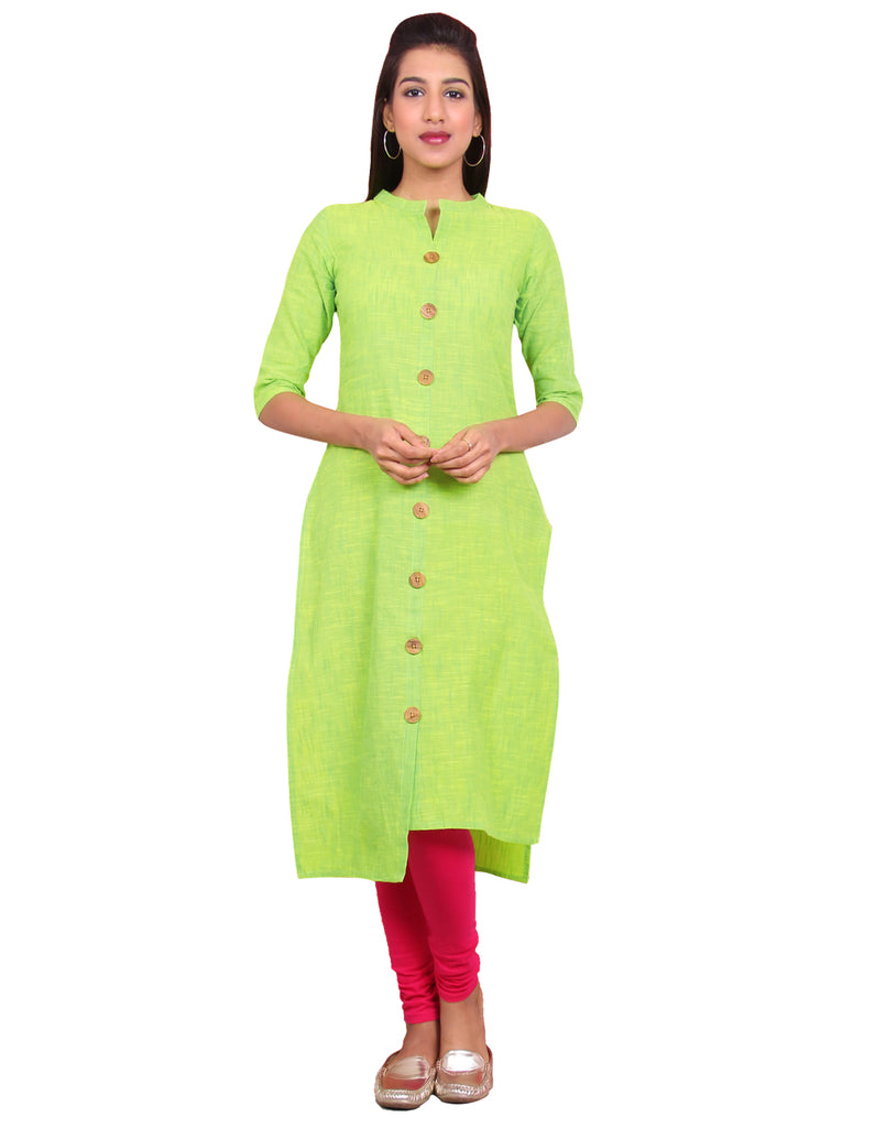Bright Lime Green Chambram Slub Hi-Low Straight Cut Kurta