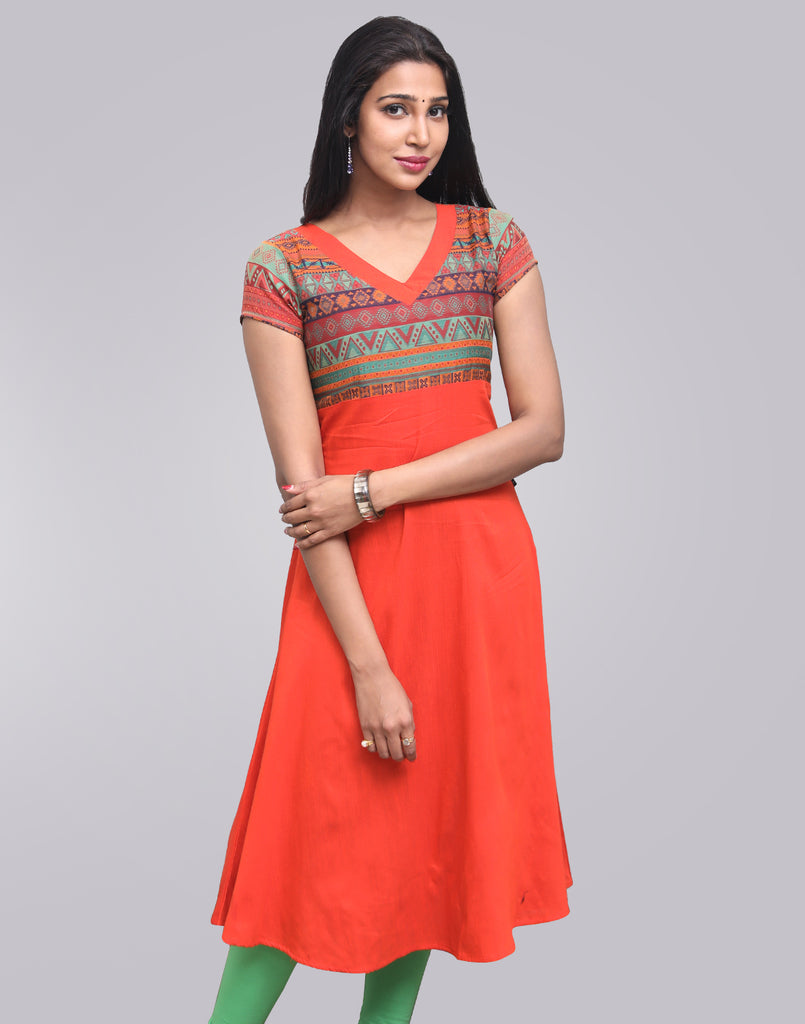 Mandarin Red Raw Silk Anarkali Kurta