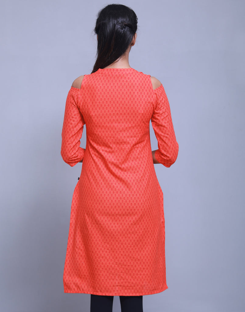 Cherry Tomato Cold Shoulder Straight Cut Kurta