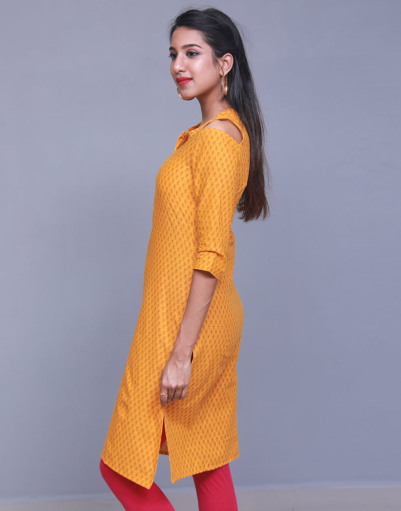 Gold Fusion Cold Shoulder Straight Cut Kurta