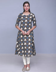Dark Gull Grey Kantha Work Anarkali Kurta