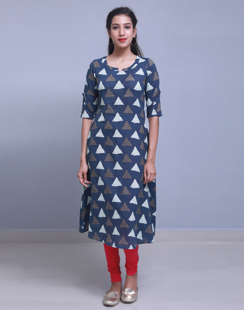 Navy Blue Kantha Work Anarkali Kurta