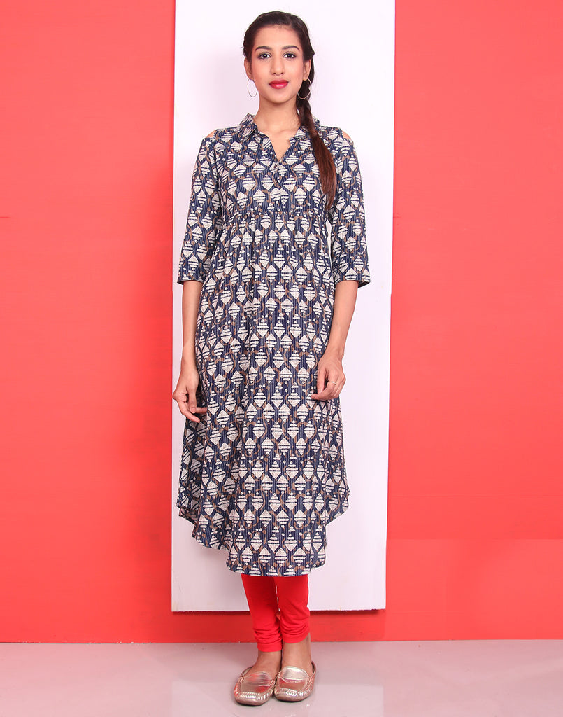 Insignia Blue Cold Shoulder Anarkali Kurta