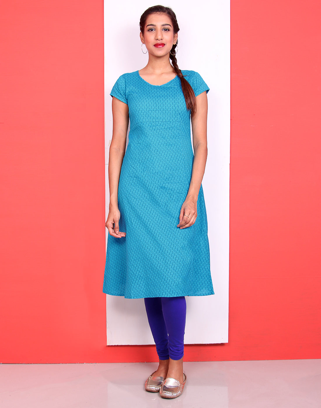 Blue Atoll Cotton Flex A-Line Kurta