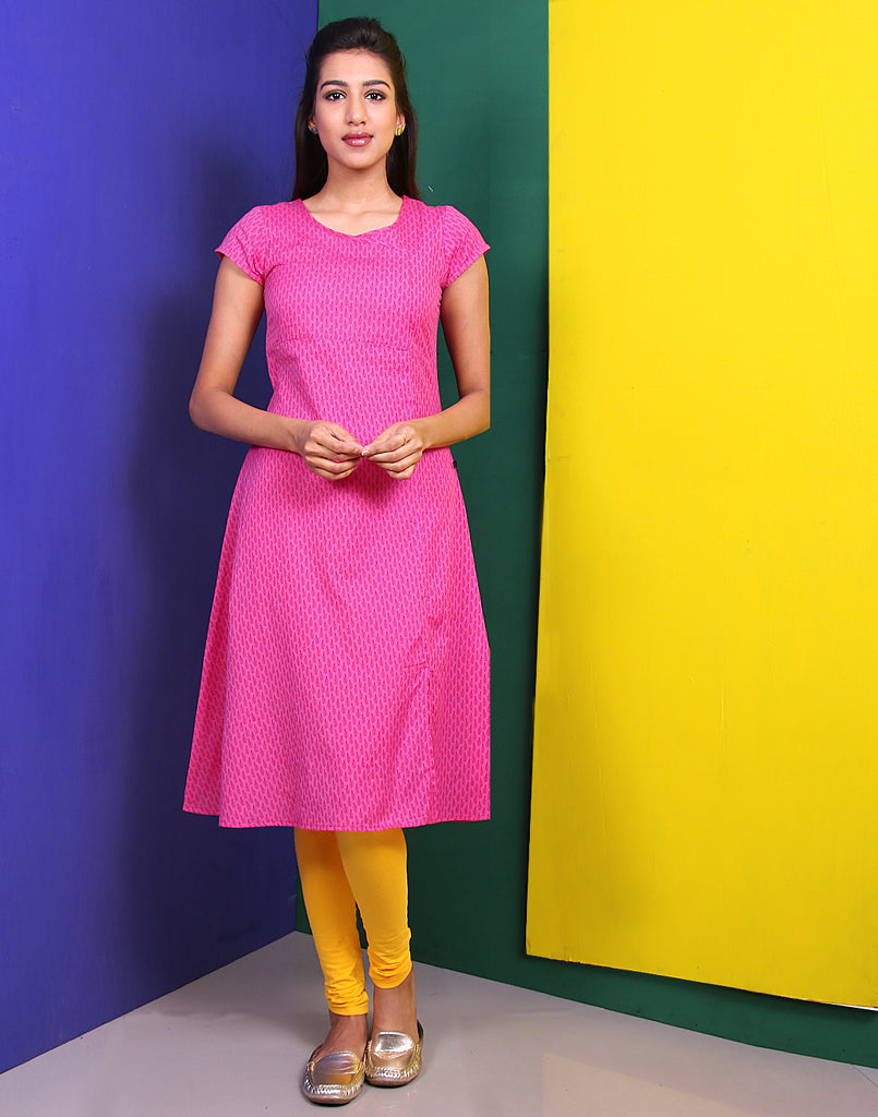 Raspberry Rose Cotton Flex A-Line Kurta