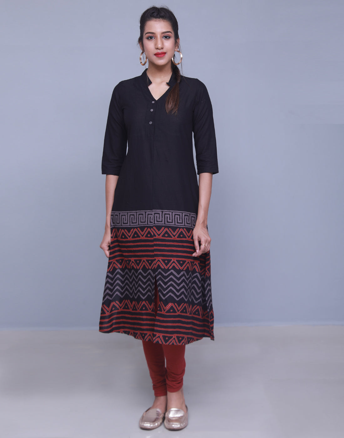 Black Cotton Printed A-Line Kurta