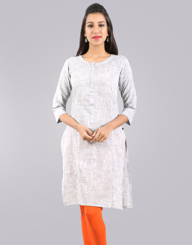 Ash Grey Slub By Slub Straight Cut Kurta