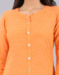 Bright Marigold Slub By Slub Straight Cut Kurta