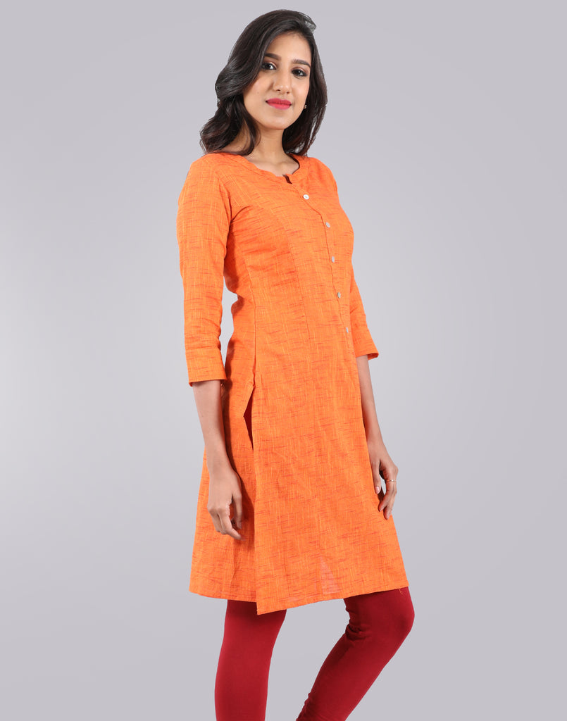 Sun Orange Slub By Slub Straight Cut Kurta
