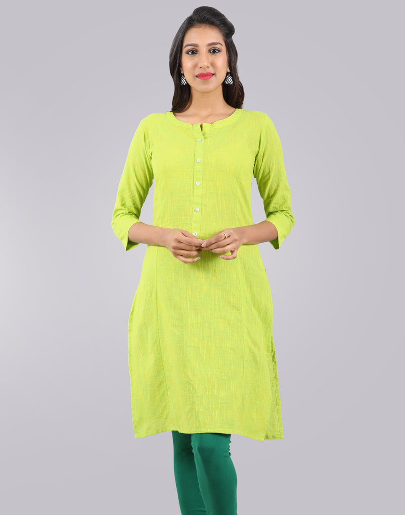 Bistro Green Slub By Slub Straight Cut Kurta