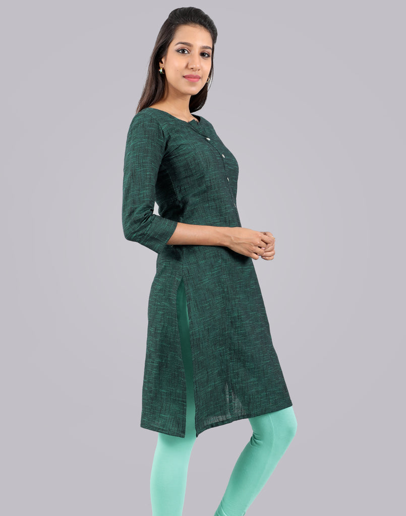 Teal Slub By Slub Straight Cut Kurta
