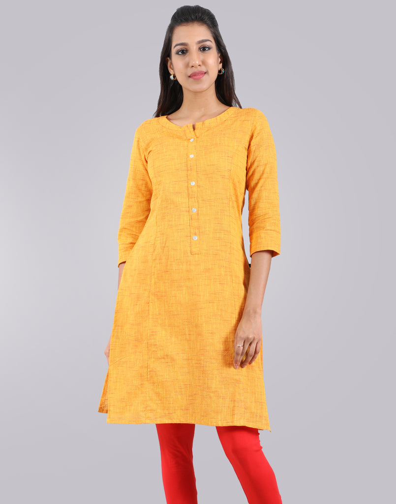 Spectra Yellow Slub By Slub Straight Cut Kurta